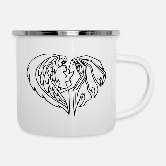 Trend Mugs & Drinkware - Good and evil heart - Enamel Mug white