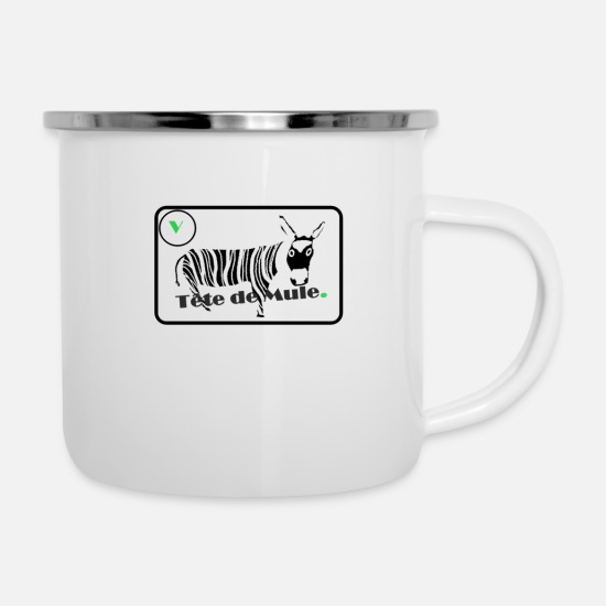 Muli Mugs & Drinkware - Mule head expression text phrase funny word - Enamel Mug white