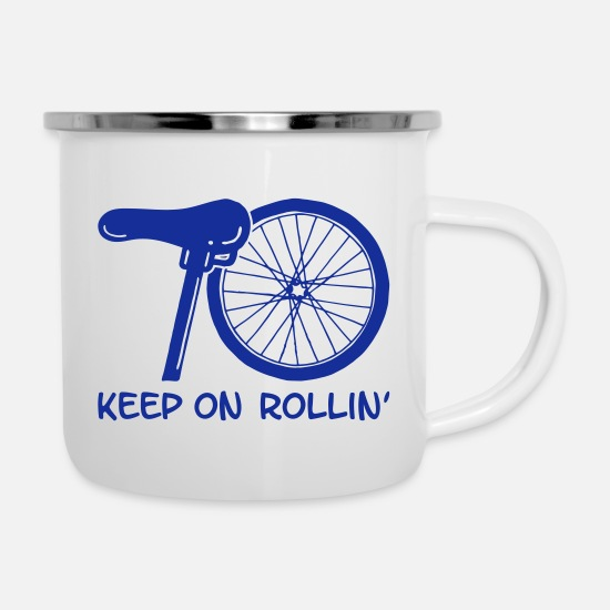 Birthday Mugs & Drinkware - 70 - keep on rollin '(white) - Enamel Mug white