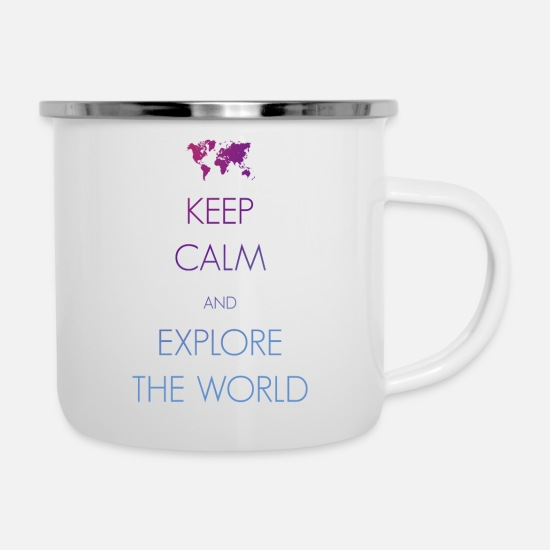 Travel Mugs & Drinkware - Keep calm and explore the world - Enamel Mug white