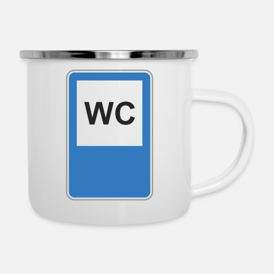 Road Construction Mugs & Drinkware - Road sign WC - Enamel Mug white