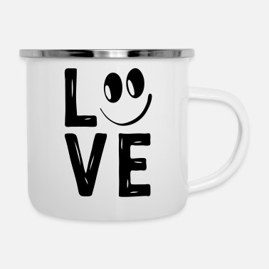 Love With Heart Love Smile Love Hearts Hearts Laugh Happy - Enamel Mug