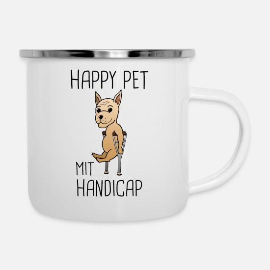 Gift Idea Mugs & Drinkware - Dog Handicap Pet Funny Sayings Gift - Enamel Mug white