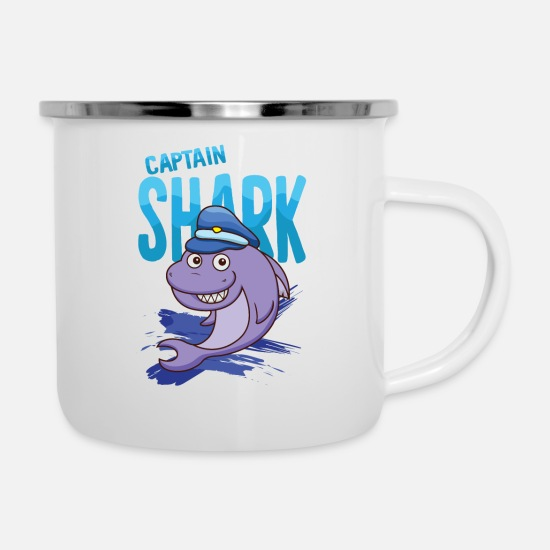 Shark Mugs & Drinkware - Captain Hai - Enamel Mug white