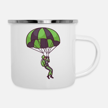 Grey Parachute Flying - Enamel Mug