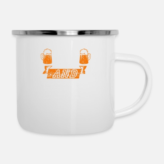 Distressed Mugs & Drinkware - bad and boozy Distressed - Enamel Mug white