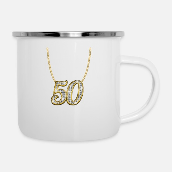 Party Mugs & Drinkware - 50 50th birthday queen princess gold gift - Enamel Mug white