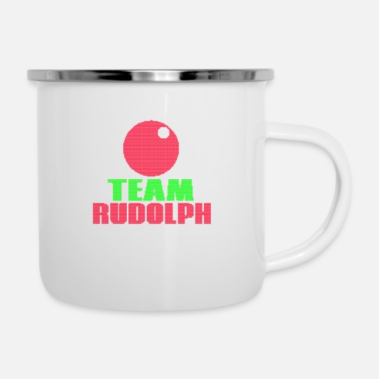 Santa Mugs & Drinkware - Shirt for Christmas - Team Rudolph - Enamel Mug white