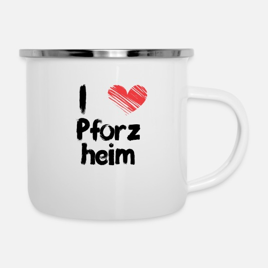 Love Mugs & Drinkware - I love Pforzheim - Enamel Mug white