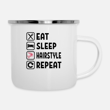 Salon Eat Sleep Hairstyle Repeat - Emaille-Tasse