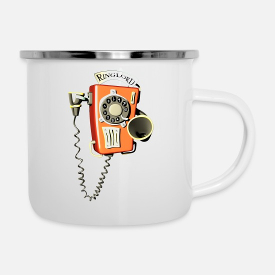 Phone Mugs & Drinkware - Ringlord phone wall phone - Enamel Mug white