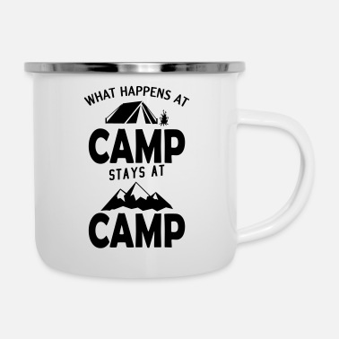Campsite What happens at the campsite stays on the campsite - Enamel Mug