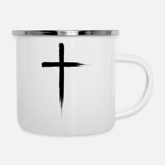 Christian Mugs & Drinkware - cross - Enamel Mug white
