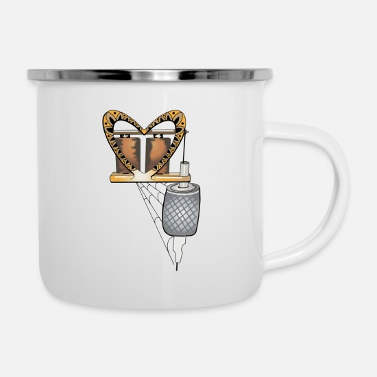 Colour Mugs & Drinkware - Tattoo machine - Enamel Mug white