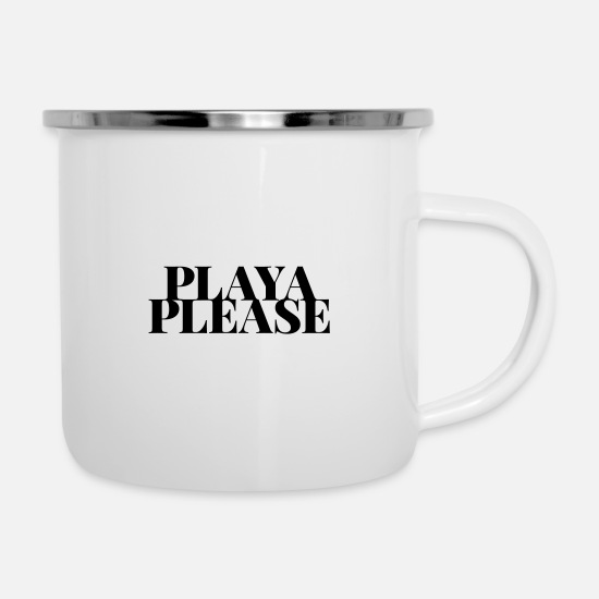 Typography Mugs & Drinkware - playa please - Enamel Mug white