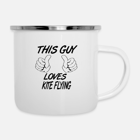 Kite Mugs & Drinkware - This Guy Loves KITE FLYING - Enamel Mug white