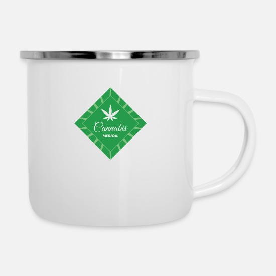 Hemp Mugs & Drinkware - Cannabis marijuana medicine gift hemp leaf idea - Enamel Mug white