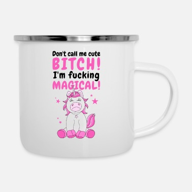 Glitzer Einhorn Spruch Lustig Don't call me cute bitch - Emaille-Tasse