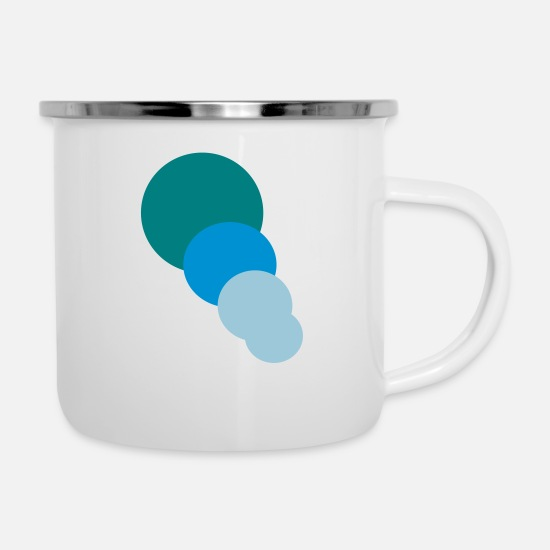 Blue White Mugs & Drinkware - Blue circles - Enamel Mug white