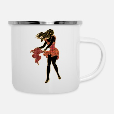 beautiful girl in windy weather black - Enamel Mug