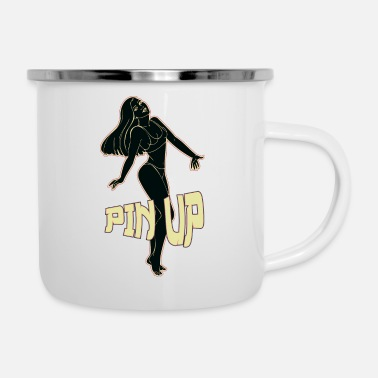 pin up girl 2 black - Enamel Mug