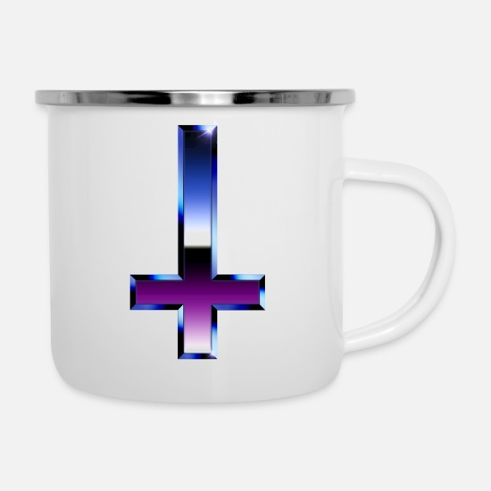 Cross Mugs & Drinkware - Chrome Cross - Enamel Mug white