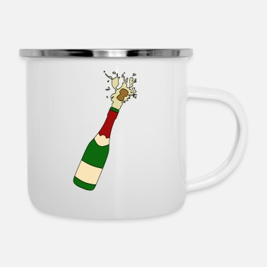 Glass champagne bottle - Enamel Mug