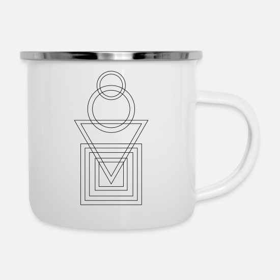 Symbol  Mugs & Drinkware - Abstract shape circle triangle square architecture - Enamel Mug white