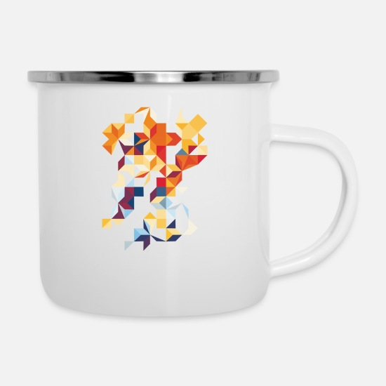 Indie Mugs & Drinkware - Multi Colour Flutter - Enamel Mug white