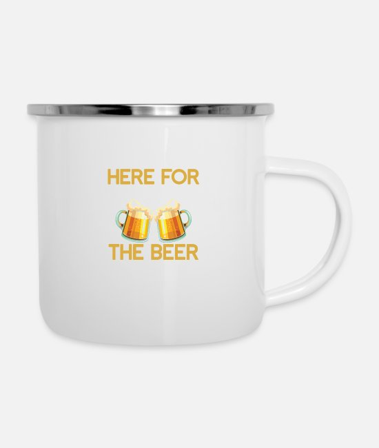 Beerathlon Mugs & Drinkware - Here for beer drinking, toast wheat gift - Enamel Mug white