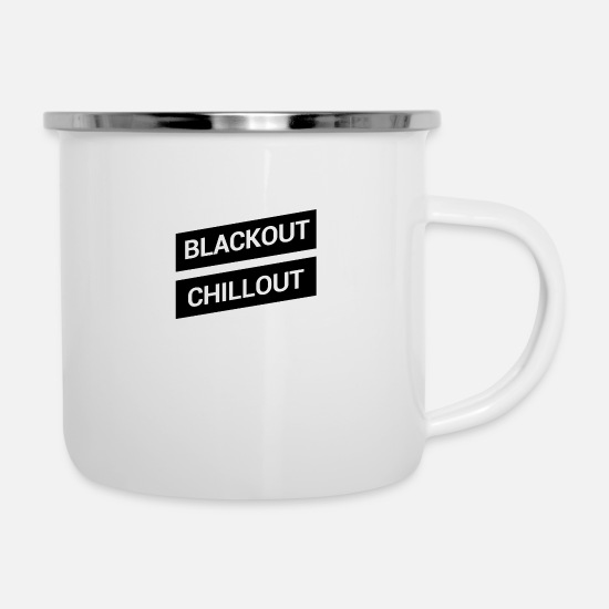 Chill Out Mugs et récipients - blackout chill-out - Mug émaillé blanc