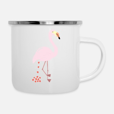 Ironie Flamingo - Lustiges Herz Poo Shirt - Emaille-Tasse