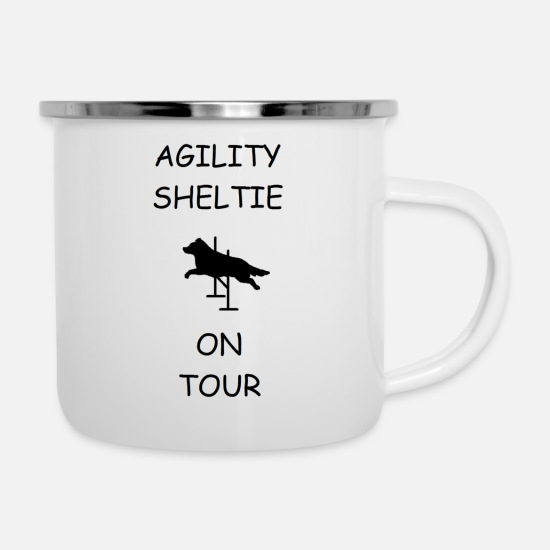 Agility Tassen & Becher - Agility Sheltie On Tour - Emaille-Tasse Weiß