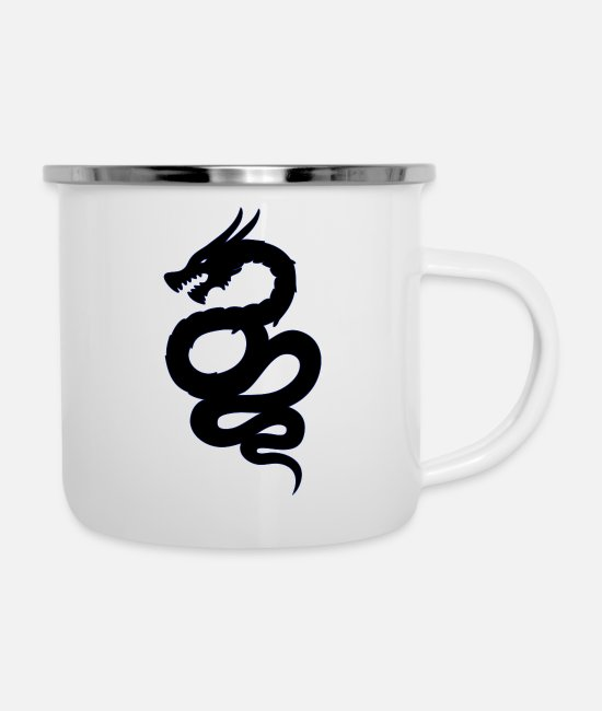 Shield Mugs & Drinkware - Biscione Drago - Enamel Mug white