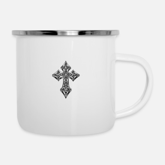 Christ Mugs & Drinkware - cross - Enamel Mug white