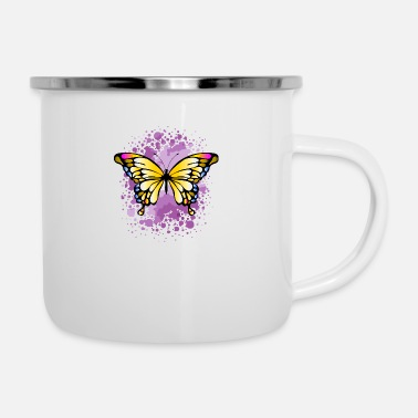 Yellow butterfly - Enamel Mug