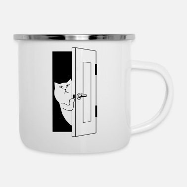 Cat opens door - Enamel Mug