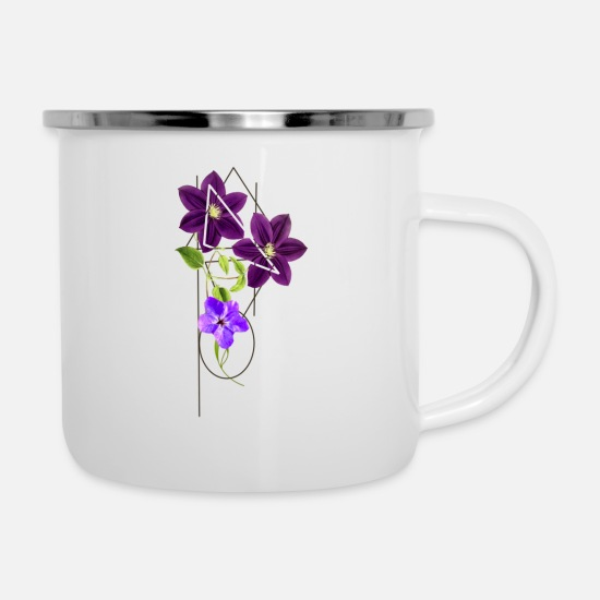 Blume Mugs & Drinkware - Shapes with flowers. - Enamel Mug white