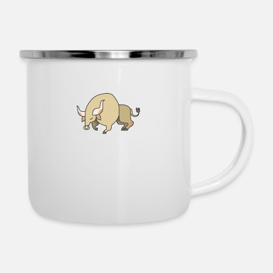 Bullfighting Mugs & Drinkware - bull - Enamel Mug white