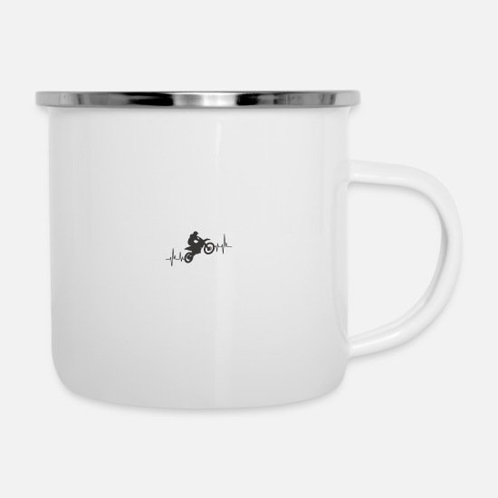 Motocross Mugs & Drinkware - Motorcycle Motorsport Motocross Gift - Enamel Mug white