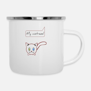 Master Cat mistress white cat cat lady cat lover - Enamel Mug