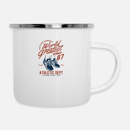 Runner Mugs & Drinkware - World Greatest Runner running jogging running sport - Enamel Mug white