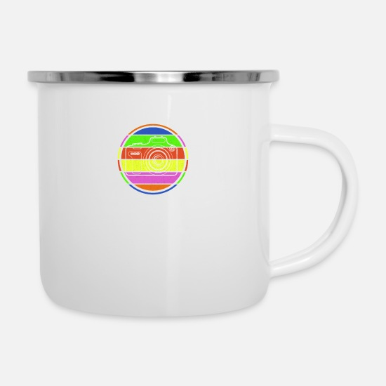Gift Idea Mugs & Drinkware - Camera in colorful circle i photography gift - Enamel Mug white