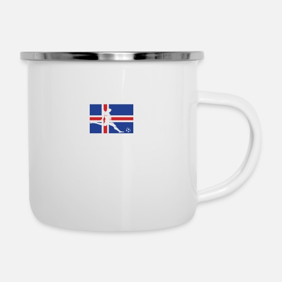 Gift Idea Mugs & Drinkware - Iceland football national team gift - Enamel Mug white