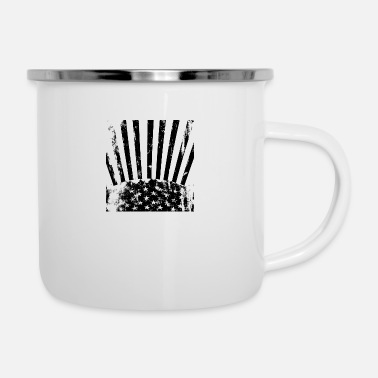 Strip Stars Stripes black white - Emaille-Tasse
