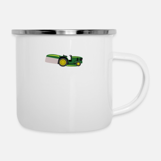 Garden Mugs & Drinkware - mowing machine - Enamel Mug white