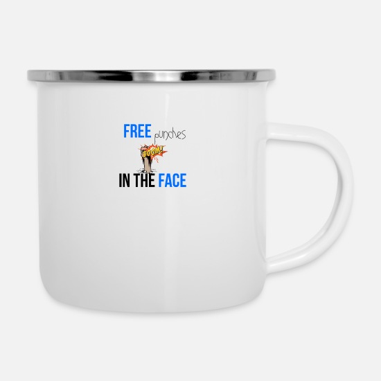 Punch Tassen & Becher - Free punches in your face - Emaille-Tasse Weiß