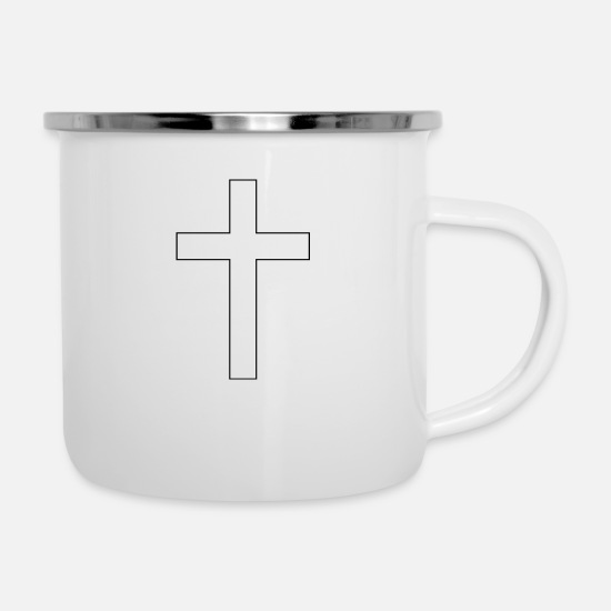 Cross Mugs & Drinkware - cross - Enamel Mug white