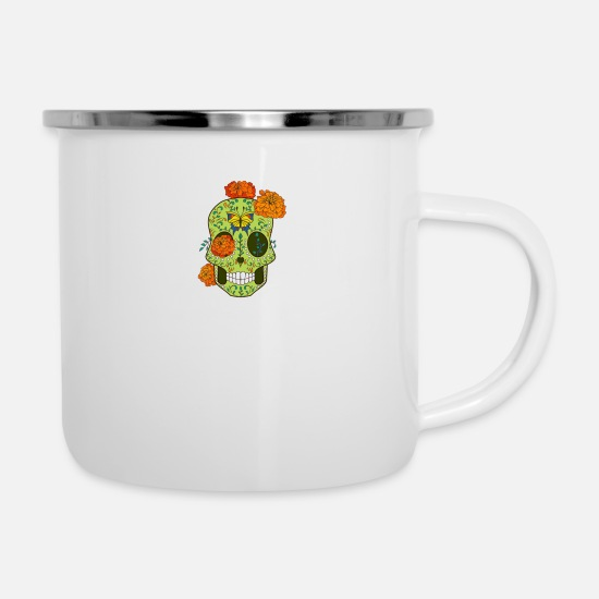 Skull And Bones Mugs & Drinkware - Skull Plant - Enamel Mug white
