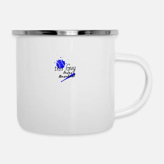 Baseball Glove Mugs & Drinkware - This guy loves baseball This guy love baseball - Enamel Mug white